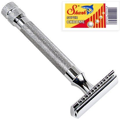 Parker 91R Super Heavyweight Double Edge Safety Razor  10 Shark Chrome Blades by Parker Safety Razor. $28.77. This is a genuine Parker Safety Razor and the newest of the Parker models. This particular razor is extremely heavy in the hand and has a non-slip handle. It is a traditional 3 piece safety razor with modern flare and styling, but old world quality! It is an excellent razor for those that are have been looking for a high quality heavy weight razor for a close shave! This…