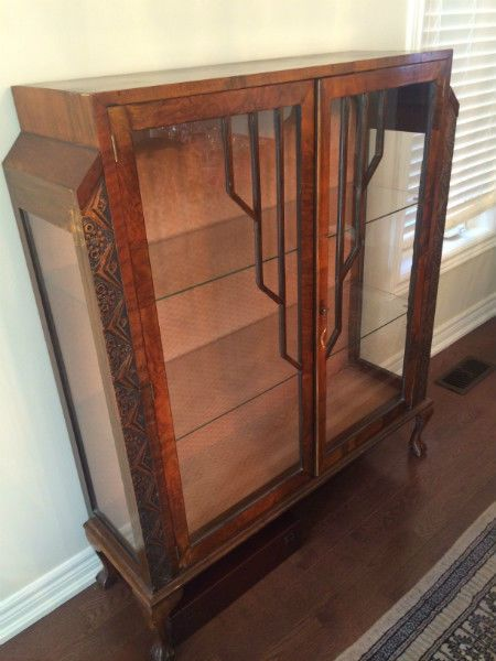 Dark Wood Antique Hutch Perfect For A Dining Room