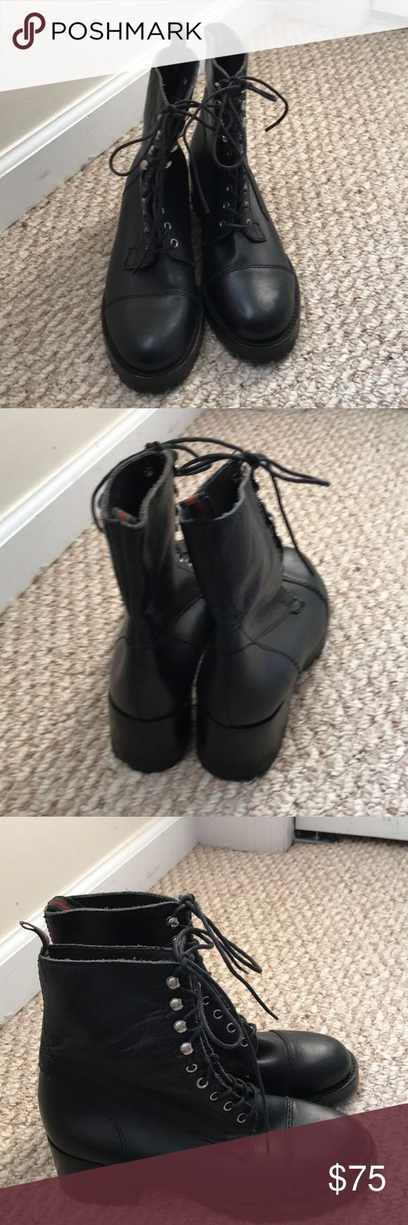 Ladies Black Leather Combat Boots sz 7.5 These are New never worn black leather combat boots By ESPACE size 7.5. They retail for $250.  These will not only look cute with your outfits but will keep you warm! Shoes Combat & Moto Boots
