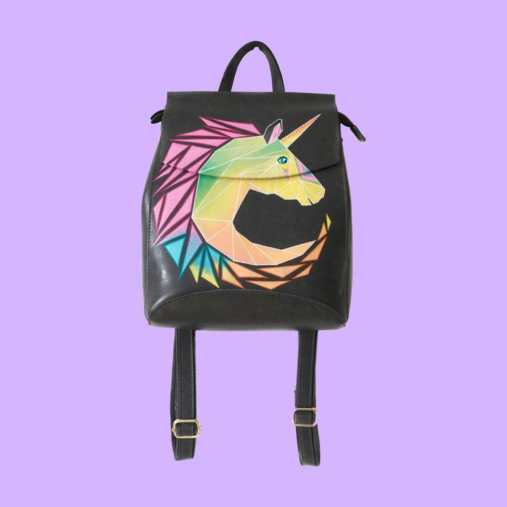 The magic unicorn on the backpack.  The  painting made by hand, NOT a print!