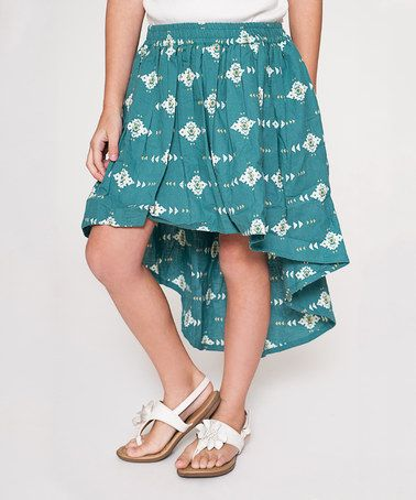 This Teal Geometric Hi-Low Skirt - Girls is perfect! #zulilyfinds