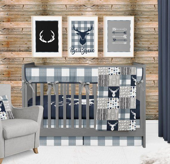 Baby Boy Crib Bedding Woodland Nursery Set Buffalo Plaid Etsy In 2020 Baby Boy Crib Bedding Crib Bedding Boy Nursery Room Boy