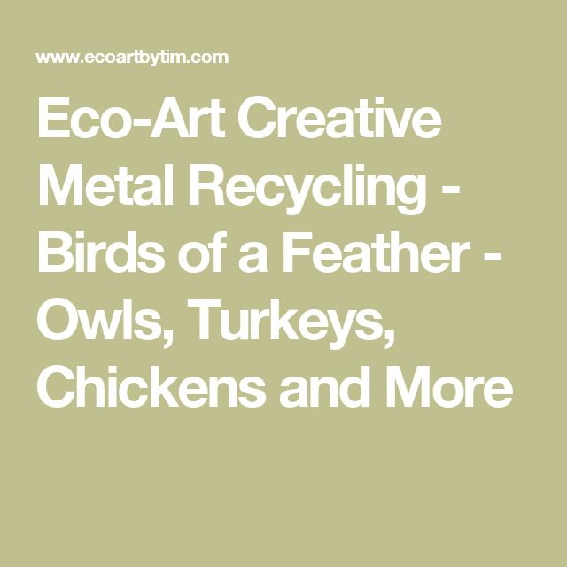 Eco-Art Creative Metal Recycling - Birds of a Feather - Owls, Turkeys, Chickens and More