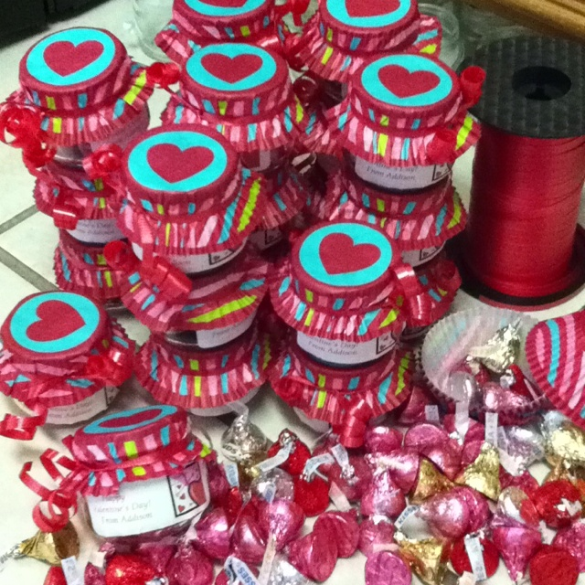 Valentines From Baby Food Jars Filled With Assorted Hersheys Kisses Topped Baking Cups
