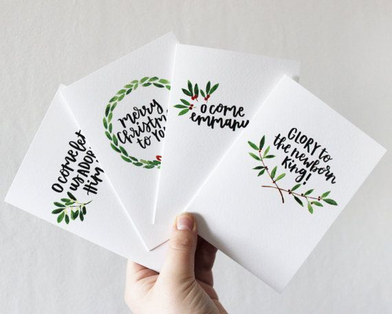 Items similar to SALE Christmas Cards Christian, Christmas Carol, Hand Lettered Cards, Watercolour Cards, Painted on Etsy