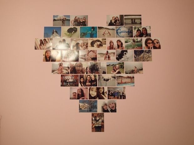 How to make a photo heart- Awesome that it actually gives the layout and how many photos you need.