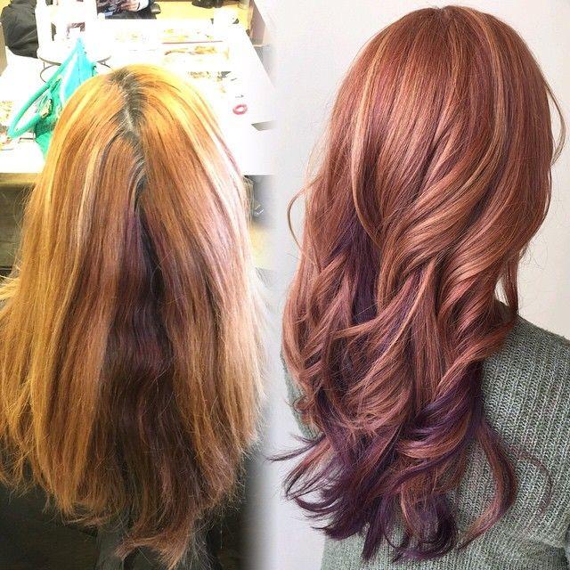 A wonderful transformation on my guest today! We brought her intense copper back to life and toned her highlights to a strawberry blonde. Then enhanced a deep violet peekaboo section.  @aveda @pyaraspaandsalon #avedacolor #myavedastylist #aveda #copperhair #violethair #strawberryblonde #hairstylist #redhead #hairart #hairlove #ScissorSalute #hairdressermagic #larisalovelook #pyaraspaandsalon #bostonstylist #boston #burlingtonma #beauty #redhair #purplehair #modernsalon #americansalon…