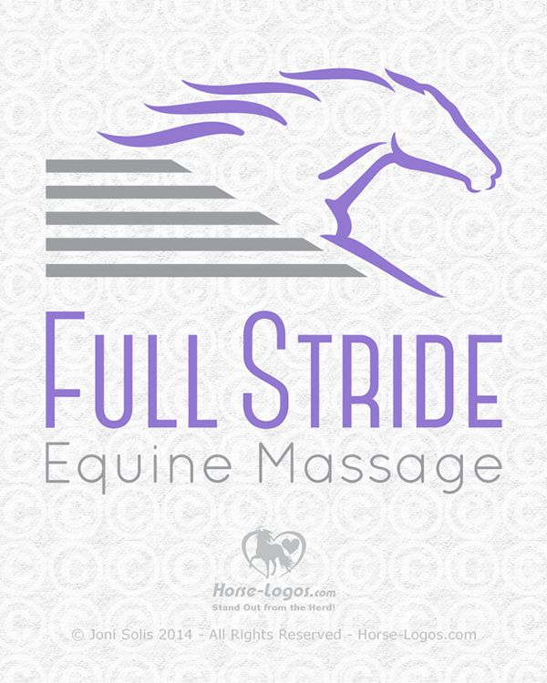 Custom equine logo design created for Hilary Ayres-Virgil of Full Stride Equine Massage. Artist: Joni Solis of Horse-Logos.com #horselogo #equine #art