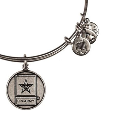 Alex and Ani US Army Expandable Wire Bangle Russian Silver