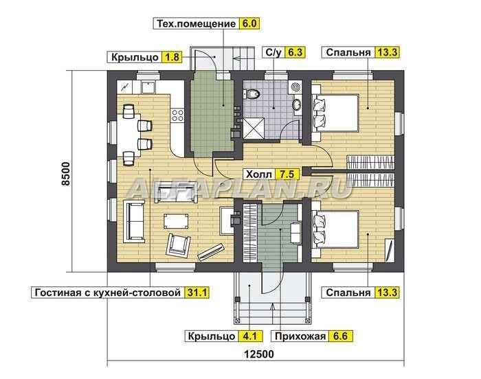 Простой экономичный дом из газобетона (AV318), Alfaplan.ru