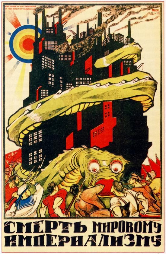 The beginning of Soviet propaganda - first posters appeared during Russian Civil War in 1917-1923