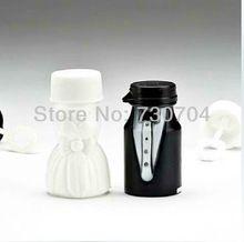 24 stks/partij lege zeepbellen flessen bruid en bruidegom bubble fles bellen blazen hulpmiddel(China (Mainland))