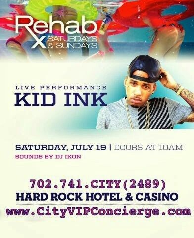 Kid Ink at REHAB Las Vegas Saturday July 19th. Contact 702.741.2489 City VIP Concierge for Cabanas, Daybeds, Bungalows and the BEST of Any & Everything Fabulous in Las Vegas!!! #RehabLasVegas #VegasPoolParties #CabanasLasVegas #LasVegasPoolParties #VegasCabanas #CityVIPConcierge *CALL OR CLICK TO BOOK* http://www.cityvipconcierge.com/las-vegas-pools-cabanas.html