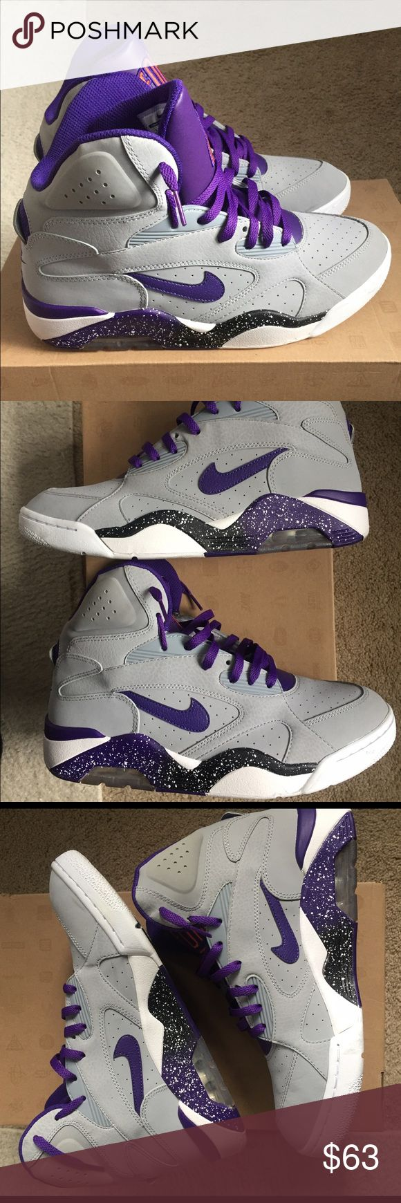 Nike Air Force 180 Mid Grey Nike with purple and white detail- worn only 3 times, like new. No flaws. Size 10.5 men's Nike Shoes Sneakers