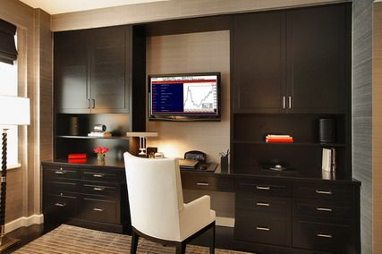 and Monitor TV in Small Modern Home Office Interior Design Ideas