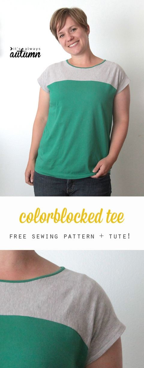 Free pattern and sewing tutorial for this easy to sew color blocked women's tee shirt.
