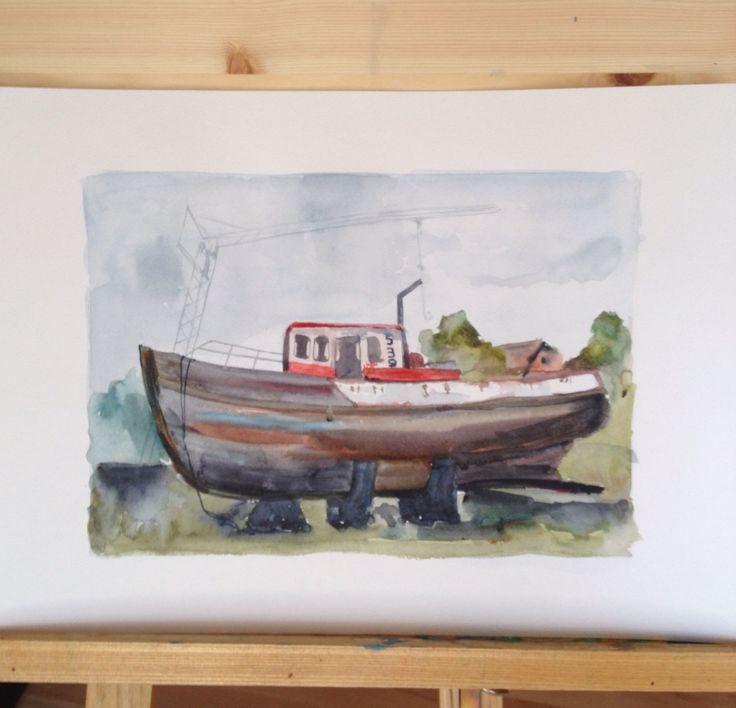 Watercolor. Reykjavik. Old boat.