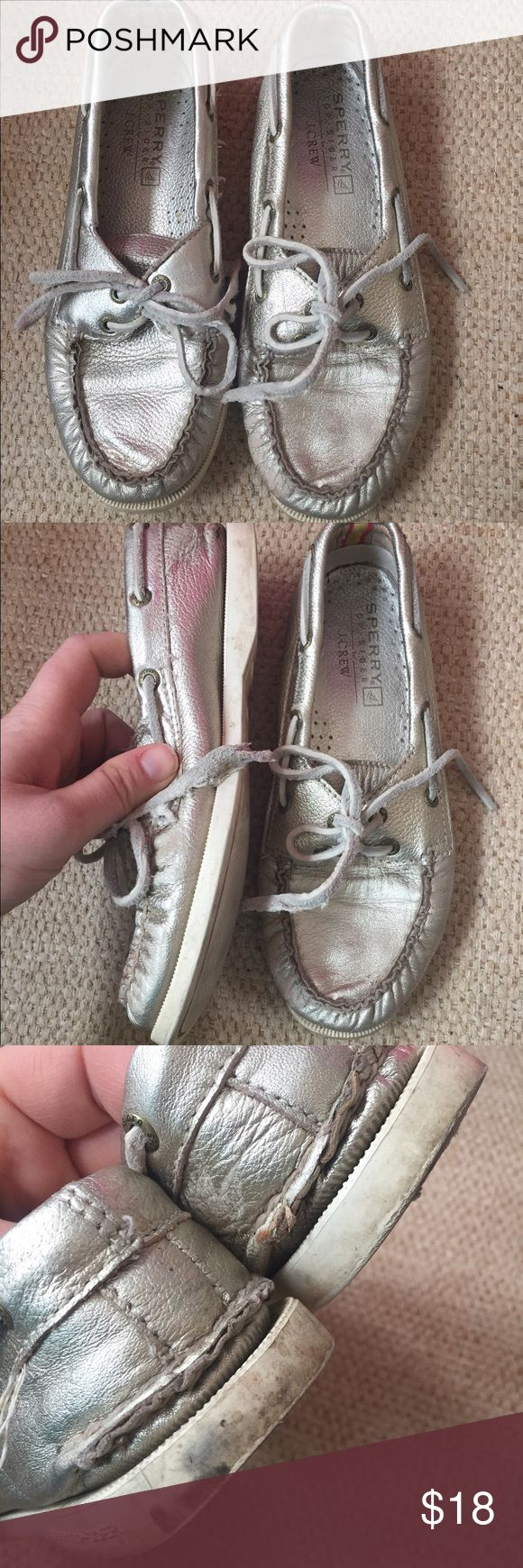 Sperry Topsider for Jcrew Metallic boat shoes Metallic Sperry Topsiders for J. Crew boat shoes in a women's size 6.5. Structurally they are still in good condition but they do have various dirty spots and marks on them. #sperrys #jcrew #jcrewforsale #metallic #shoefie Sperry Top-Sider Shoes Flats & Loafers