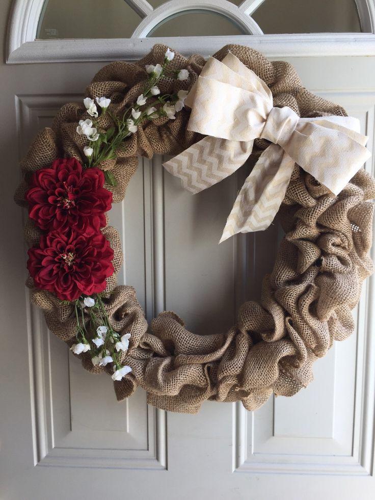 Pretty in red burlap wreath/ neutral wreath/ year around wreath/ chevron/flower wreath/ all occasion wreath by TriciaMaeHangtime on Etsy