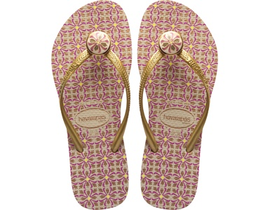 Havaianas Slim Geometric: Sand Grey/Golden Sun