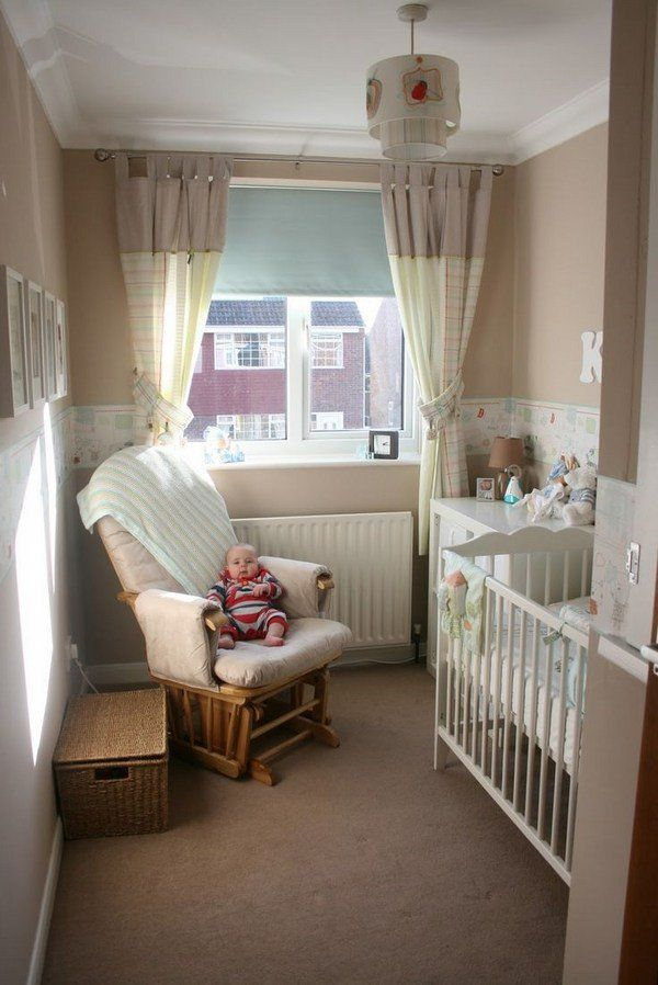 small nursery room furniture ideas armchair baby cot changing table neutral  colors beige white