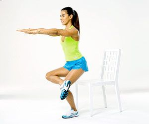Crossed Seated Squat    Targets: Quads and glutes; stretches hips, IT band    Sit on chair, with left foot on floor and right ankle on left knee. Lean into left foot and stand up, squeezing glutes. Sit back down, keeping right ankle on left knee the entire time. Do 10 reps. Switch sides; repeat.