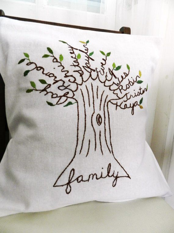 Family tree hand stitched pillows