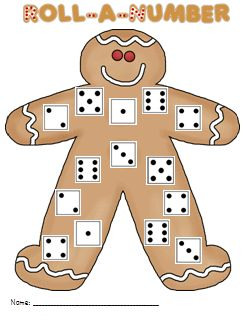 gingerbread roll-a-number game FREEBIE