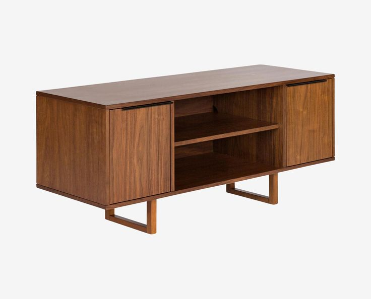 Scandinavian Designs - Our Alskar media stand offers a mid-century profile with two streamlined media shelves and two doored cabinets for storage. Finished with a walnut stained veneer and streamlined cabinet pulls.