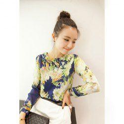 $6.16 Ladylike Round Neck Mosaic Print Long Sleeve Chiffon Shirt For Women