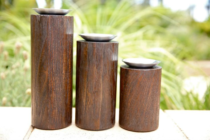 Chandelle Galerie- Set of 3, wooden tea light holders, available in sore!
