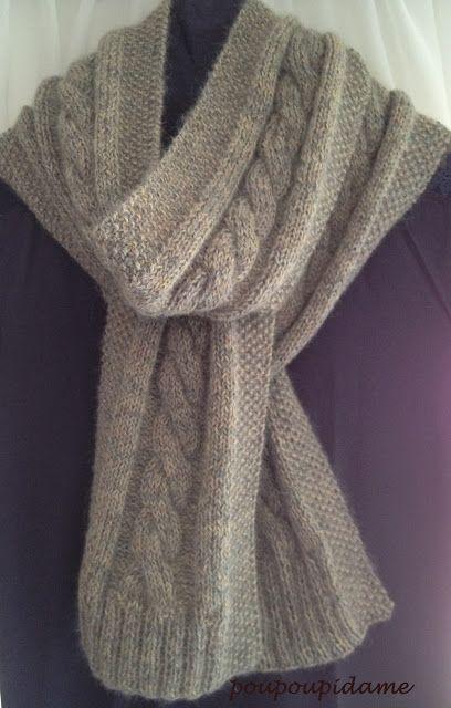 """Voici l'écharpe que j'ai créée avec ma première torsade: Je l'ai tricotée avec 200 grammes d'Alpaga """"Nèfle"""" et Plumette """"Fog sur l..."""
