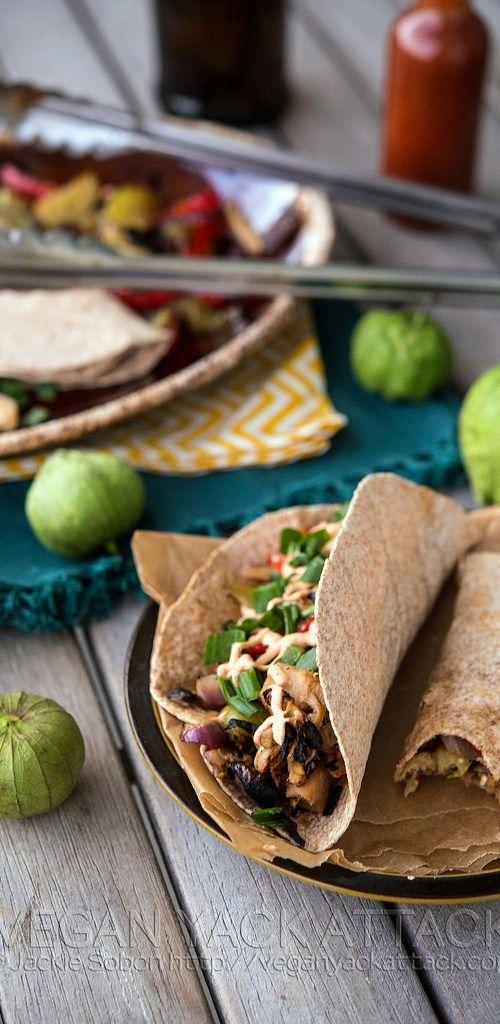Beefy Jackfruit Tacos With Grilled Fajita Veggies And