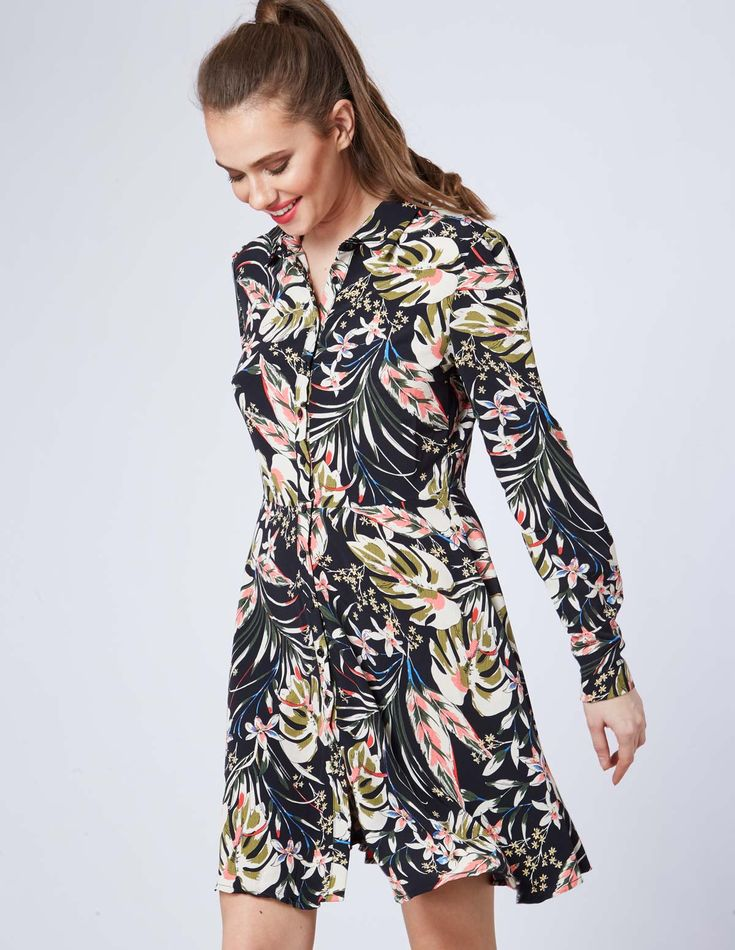 EMINA – Tropical Print Buttoned Shirt Dress