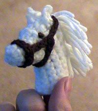 ~ Noble Steed…..one of a few Crochet finger puppets….Fairy Tales at your fingertips