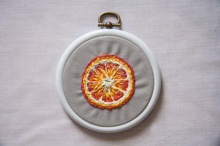 Orange embroidery art by danielle clough artsy fartsy