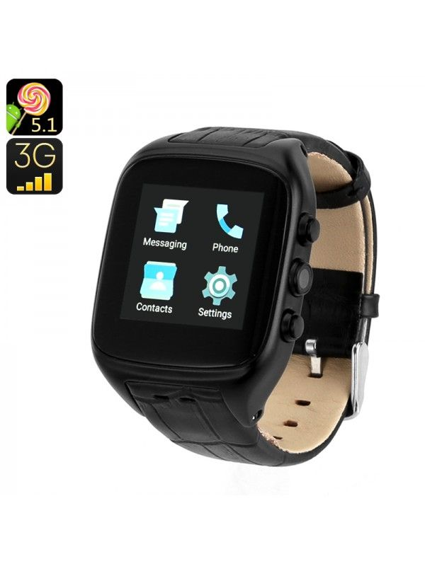 ANDROID 5.1 3G WATCH PHONE (BLACK)