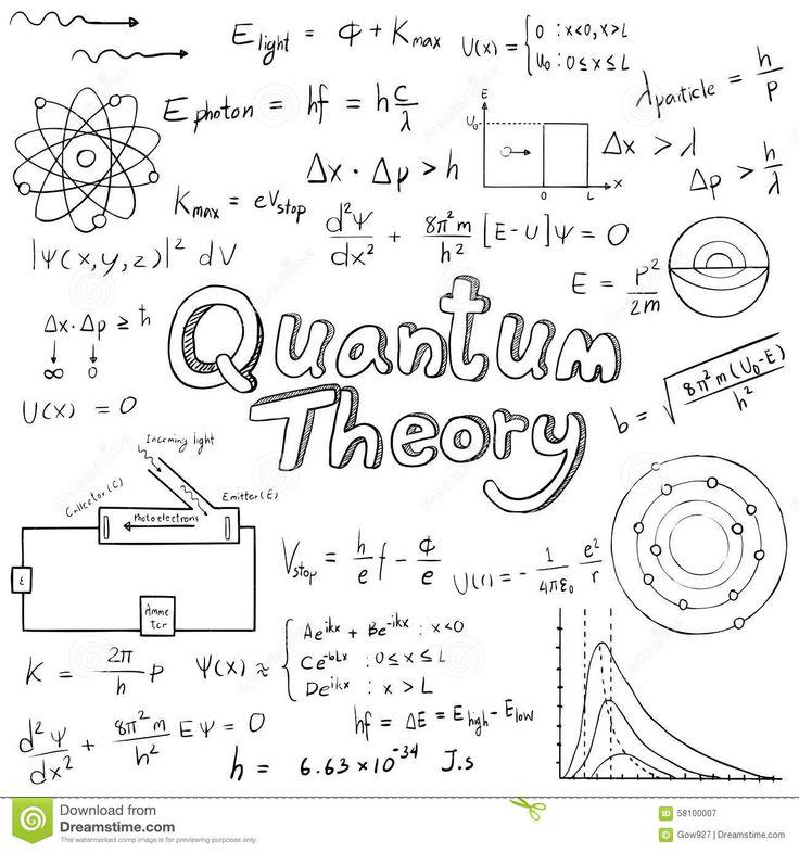 La Ley De La Teoría Cuántica Y La Ecuación De La Fórmula Matemática De La Física, Hacen Ilustración del Vector - Imagen: 58100007