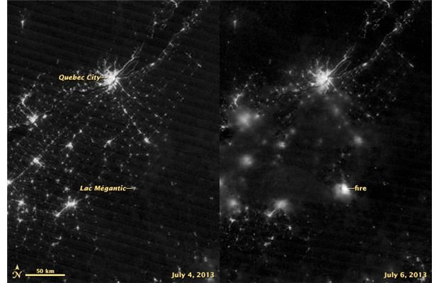 "Lac-Megantic (Quebec) conflagration shows up in satellite shot from space. The image on the right shows the Lac-Mégantic fire as captured at 2:59 a.m. Saturday by the Suomi NPP satellite using its ""day-night band,"" which detects light in a range of wavelengths from green to near-infrared and uses filtering techniques. The image on the left, as a comparison, was acquired Thursday, July 4. Light sources are not as crisp in the July 6 image because of cloud cover."