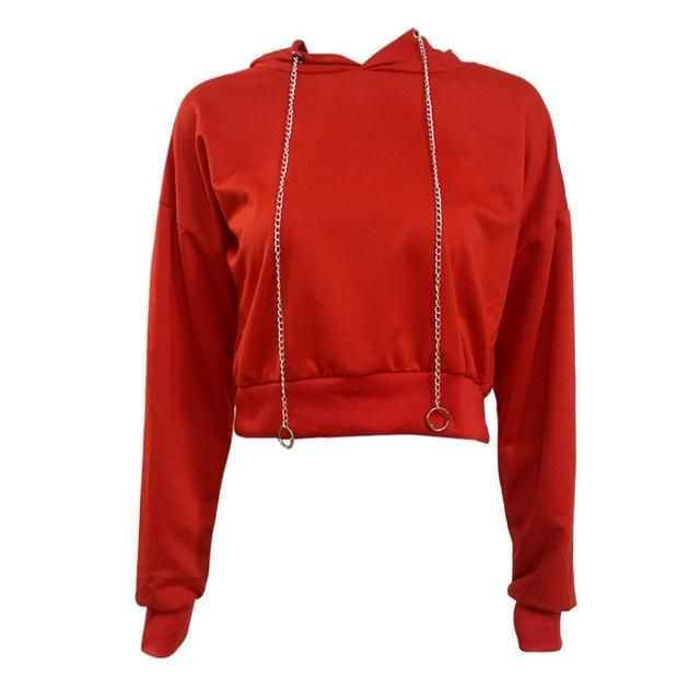 Women Crop Top Hoodie Pullover Plus Size Hoodies Drawstring Long Sleeve Autumn Casual Solid Tops R XL