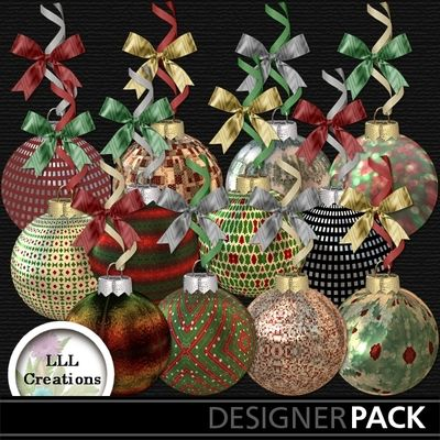 Deluxe Christmas Ornaments #2 by LLL Creations. #scrapbooking #digitalscrapbooking #Christmas #ornaments #LLLCreations
