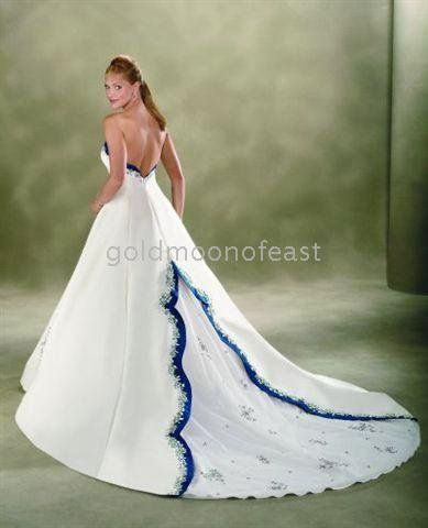 white and blue wedding dresses for cheap