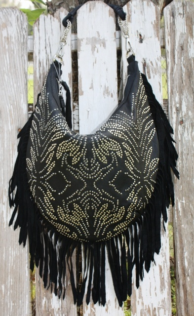 Jaw Dropping Black Leather Fringe Purse with Silver Stud Designs