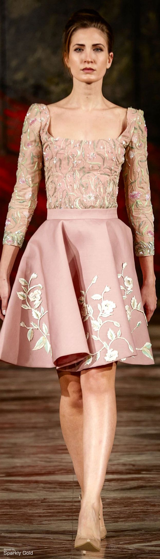 Toufic Hatab ~ Spring Embroidered Midi, Pink 2015