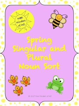 Use these cute spring themed picture noun cards whole group, at a center, or for independent work to help your students practice sorting singular and plural nouns! The file includes:- a tree map for independent sorting (cut and paste)- headers for a whole group or center/pocket chart sort- 24 picture noun cards (color and black and white cards are included)*Updated 3/18/17 with logo change.