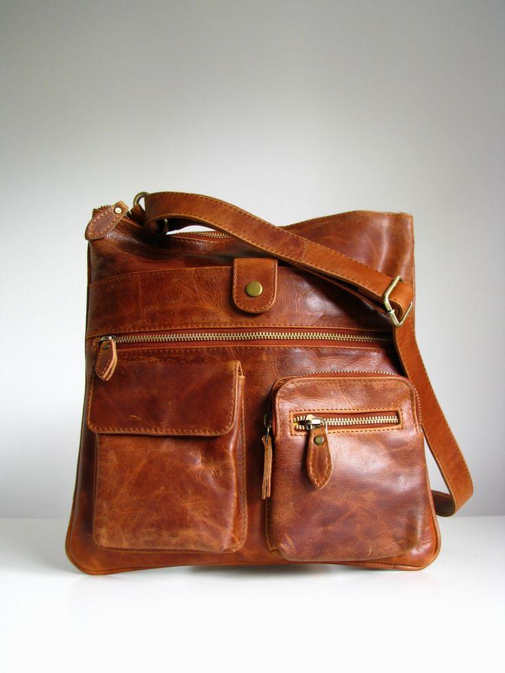 Leather Handbag Messenger Bag Brown, Vintage look. $120.00, via Etsy.