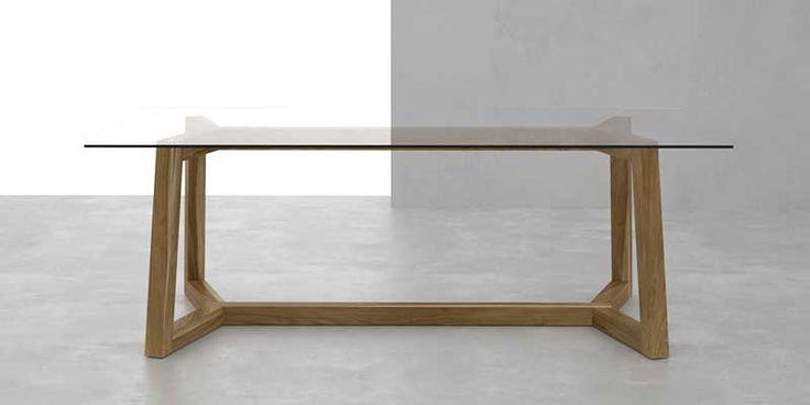 Mesa de comedor Doble T en madera maciza