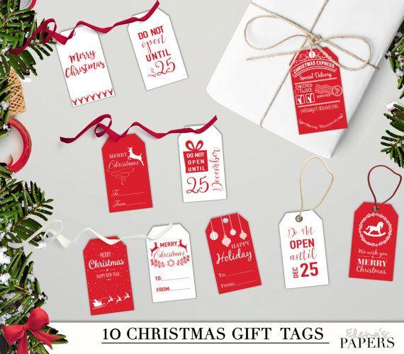 Printable CHRISTMAS GIFT TAGS. Holiday gift tags. Red and White Christmas. Holiday printable tags and labels. Set of 10 tag.