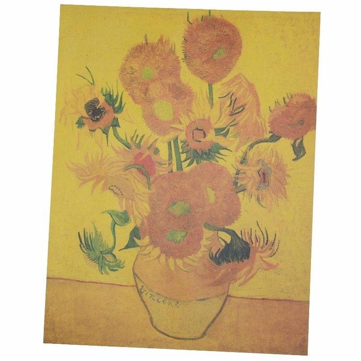 Van Gogh Famous Painting Sunflowers Apricot Flowers Kraft Paper