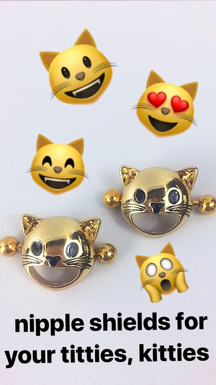 Express yourself with these awesome smiling cat emoji nipple piercings! Straight from your smartphone screen to your breasts, these 14 gauge nipple shield barbells feature classic smiling cat emojis. The iconic, officially licensed emoji charms are mounted on 16mm straight barbells made with gold tone anodized over 316L surgical grade stainless steel.